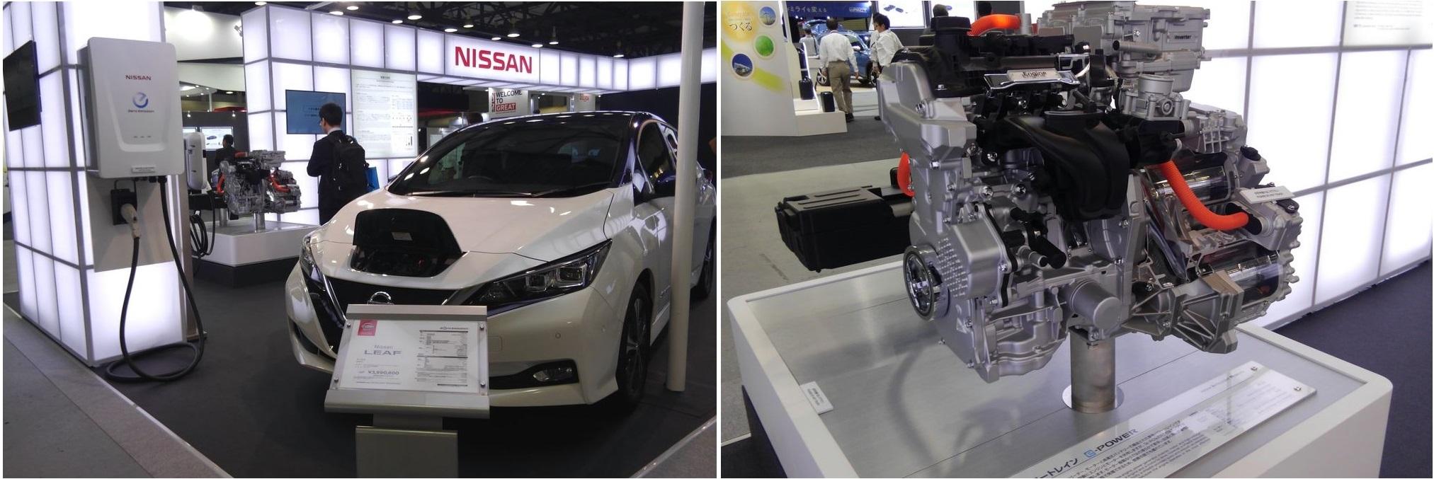 日産自動車株式会社のEV「LEAF」や「e-パワートレイン」、充電器の写真です。